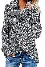 Zecilbo Women's Chunky Button Turtle Cowl Neck Asymmetric Hem Wrap Pullover Sweater