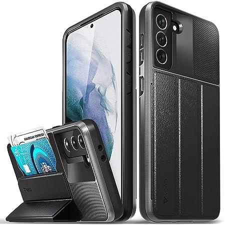 Vena vCommute ウォレットケース Samsung Galaxy S21 Plus / S21+ (6.7インチ) (ミリタリーグレードの落下保護) フリップレザーカバーカードスロットホルダー キックスタンド付き スペースグレー