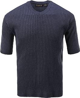 Men's V Neck Short Sleeve Large Ribbed Sweater