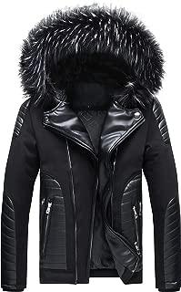 Men's Jackets Fur Hooded Coat Winter Down Cotton Parka Outwear Detachable Hood and Fur Collar
