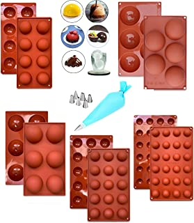 Yazanesta (5 Pcs) Semi Sphere Silicone Mold for Chocolate Bomb, for Baking, Melting Chocolate Mold Set, Dome Candy ball Mo...