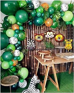 Jorunb 133 PCS Jungle Safari Theme Party Supplies, Balloon Garland Arch Kit, Favors for Kids Boys Birthday Baby Shower Dec...