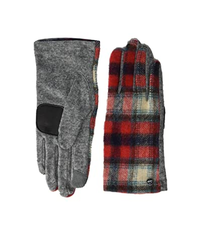 Echo Design Heritage Plaid Gloves Water Replellent Palm (Cherry Red) Extreme Cold Weather Gloves
