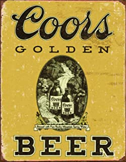 Desperate Enterprises Coors Golden Beer Vintage Tin Sign, 12.5
