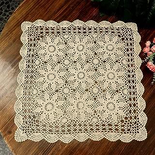 kilofly Handmade Crochet Cotton Lace Table Placemats Sofa Doilies, Square, Beige, 23 inch