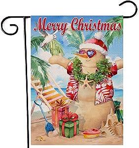 Artofy Merry Christmas Beach Snowman Home Decorative Garden Flag, Xmas Gifts Coastal House Yard Starfish Seabird Ocean Nautical Outside Decor, Hawaii Sea Outdoor Small Decoration Double Sided 12 x 18