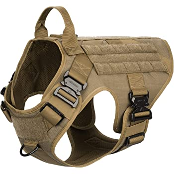 ICEFANG Tactical Dog Harness with 4X Metal Buckle,Dog MOLLE Vest with Handle,No Pulling Front Clip,Hook and Loop Panel for Dog Custom Patch