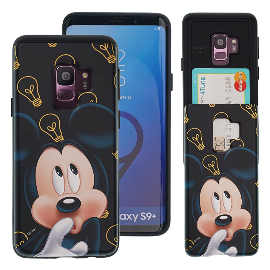 Galaxy S9 Plus Case Cute Slim Slider Cover : Card Slot Shock Absorption Shockproof Dual Layer Protective Holder Heavy Duty Bumper for [ Samsung Galaxy S9 Plus ] Case - Idea Mickey Mouse