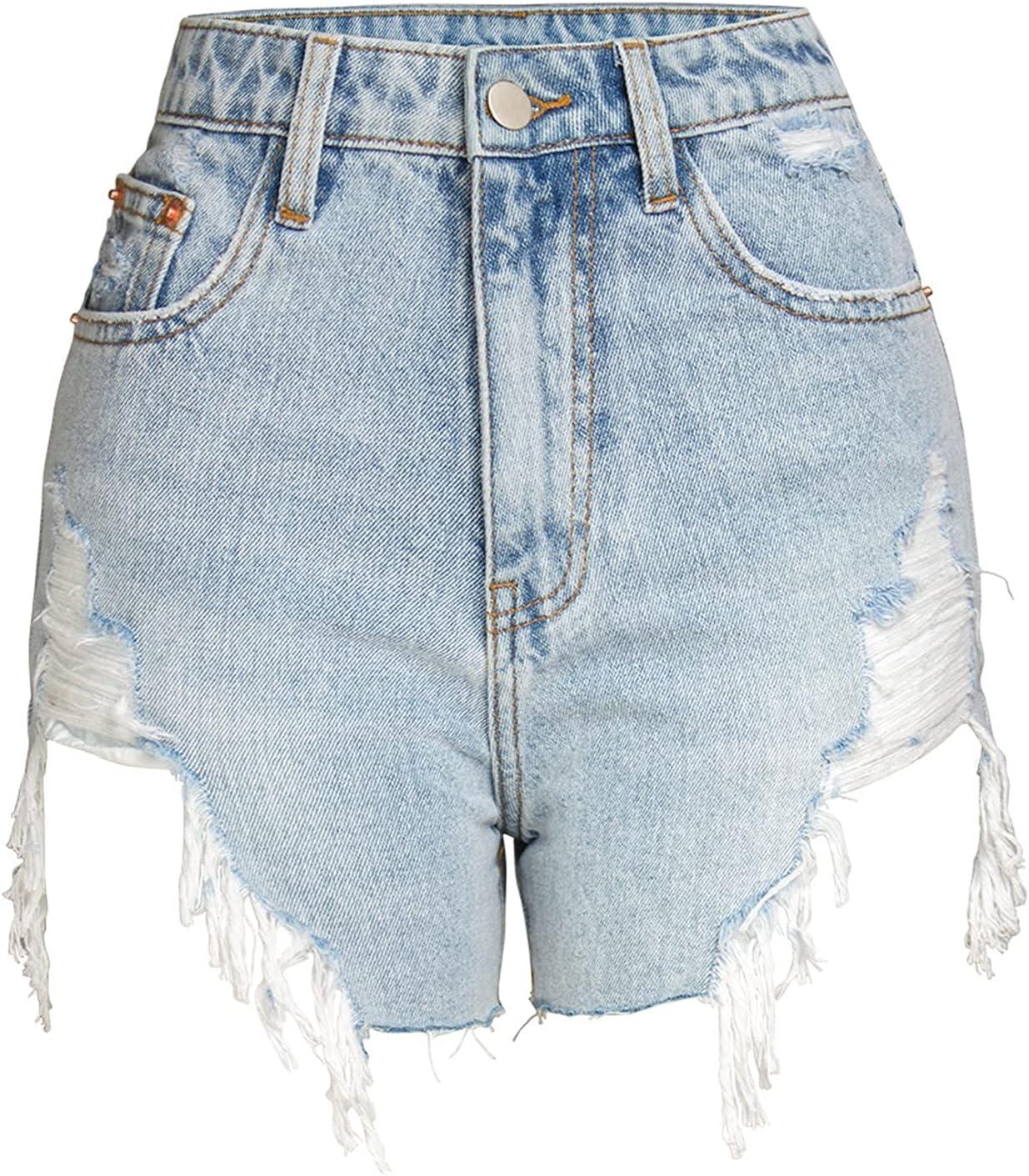 SBCDY Women's Destroyed Ripped Hole Denim Shorts Sexy Short Jeans Summer High Waist Denim Shorts Hole Tear Tassel Denim Shorts (Color : Blue, Size : 36)
