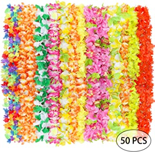 PARTYMASTER Mega Lei Assortment Hawaiian Colorful Luau Flower Leis Garland for Party Event,Set of 50