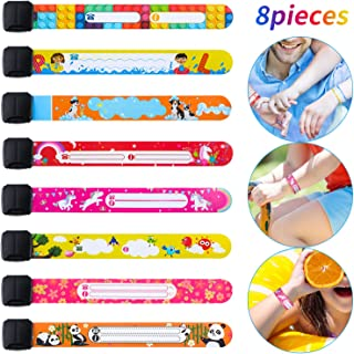8 Pieces ID Safety Wristbands Kids Identification Bracelets Waterproof Adjustable Safety ID Band for Girls, 8 Styles