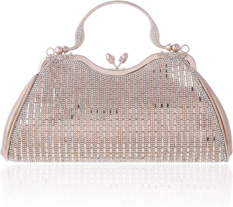 Damara Womens Sparking Rhinestones Party Top Handle Handbag