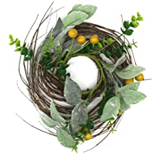 CVHOMEDECO. Rustic Country Artificial Lambs Ear/Boxwood and Twig Wreath, Year Round Full Green Wreath for Indoor or Outdoo...