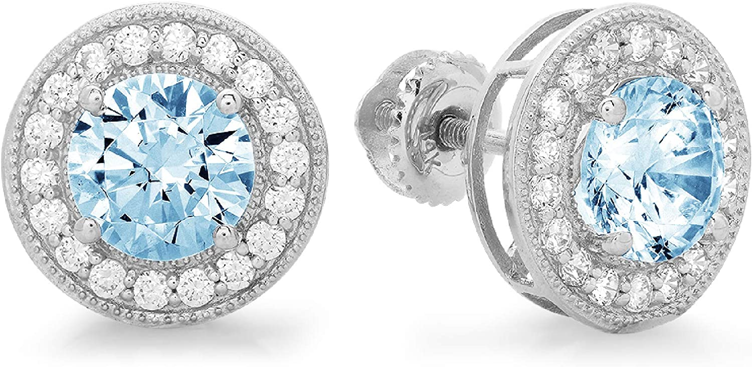 Clara Pucci 3.60 ct Brilliant Round Cut Halo Solitaire VVS1 Flawless Natural Sky Blue Topaz Gemstone Pair of Solitaire Stud Screw Back Earrings Solid 18K White Gold