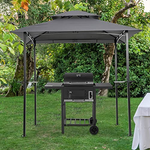 wholesale 8.3x4.95ft Outdoor Grill Gazebo,Patio Barbecue Canopy with Serving Shelf and Storage high quality Hooks discount and Vented Soft Top,w/Heavy-Duty Steel Frame Sunshade Awning, (Beige) outlet sale