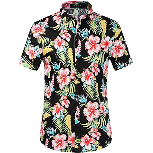 a415c089 SSLR Men's Cotton Button Down Short Sleeve Hawaiian Shirt