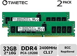 Timetec Hynix Original (32GB KIT(2x16GB)) DDR4 2400MHz PC4-19200 Registered ECC 1.2V CL17 2Rx8 Dual Rank 288 Pin RDIMM Server Memory RAM Module Upgrade (32GB KIT(2x16GB))