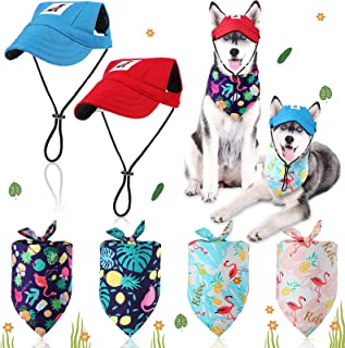 6 Pieces Dog Baseball Cap Hat Bandanas Set Adjustable Size Pet Dog Outdoor Sport Sun Protection Triangle Scarf for Small M...