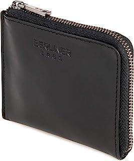Berliner Bags Premium Mini Geldbörse Mark mit Reißverschluss aus echtes Leder Geldbeutel Damen Herren Dünn Slim Schwarz