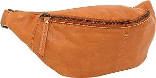 Gusti Bauchtasche Leder - Cillian Gürteltasche Hüfttasche Brusttasche Brustbeutel Reißverschluss Damen Herren Cognac Gold Gelb