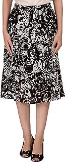 COTTON BREEZE Women's Cotton A-line Skirt (FP562, Blue, Free Size)