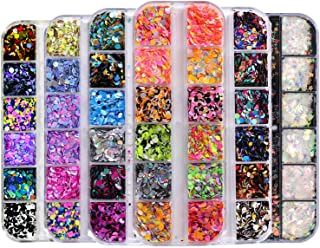 GOTONE 6 Boxes Nail Sequins, Ultra-thin Colorful Round Holographic Paillette Mermaid Flakes Manicure Make Up DIY Decals Decoration for Body Cellphone Case