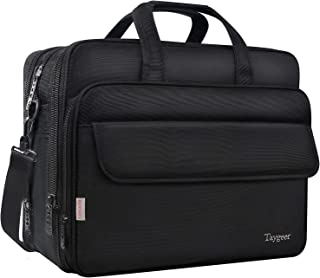 Briefcase for Men, 17 Inch Laptop Bag Large Storage Capacity for Travel,Taygeer Expandable Office Attache, Water Resitant Computer Messenger Shoulder Bags,Carry On Handle Case for 17