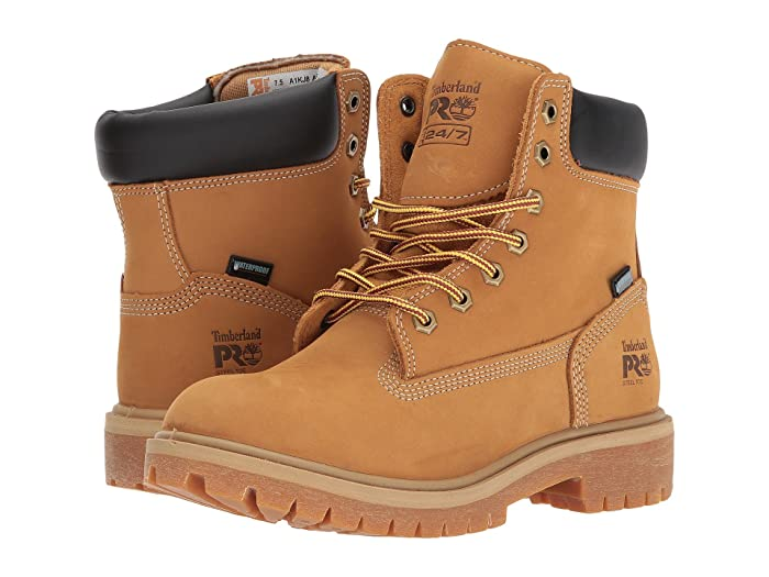 Timberland PRO  Direct Attach 6 Steel Safety Toe Waterproof Insulated (Wheat Nubuck Leather) Womens Work Lace-up Boots