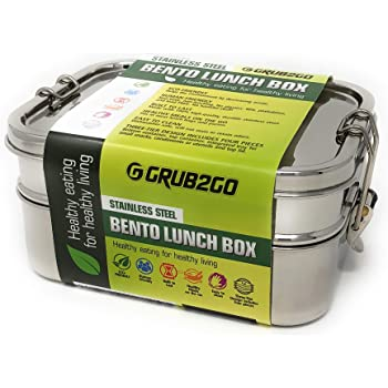 Stainless Steel 3-Layer Bento Lunch Box w/SECURLOCK Lids + FREE FOOD IDEAS GUIDE | LARGE 1600 ML Top-Grade Durable Stainless Steel | ECO-Safe & Healthy