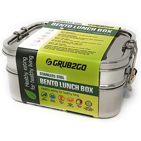 Stainless Steel 3-Layer Bento Lunch Box w/SECURLOCK Lids | LARGE 1600 ML Top-Grade Durable Stainless Steel | ECO-Safe & Healthy