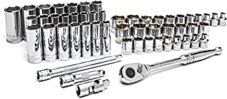 SATA 53-Piece 3/8-Inch Drive SAE and Metric Socket Set, Standard and Deep Sizes, with Ratchet and Other Accessories - ST09009U