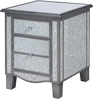 Convenience Concepts Gold Coast Park Lane Mirrored End Table, Silver/Cracked Glass, Antique
