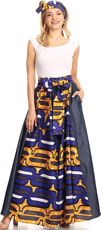 Sakkas Anisa Cire Africaine Imprimer Ankara Pantalon Large Hollandais avec Taille Élastique 418-chambray-bleu / Jaune