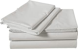 AmazonBasics Super-Soft Sateen 400 Thread Count Cotton Sheet Set - Queen, Steely Grey