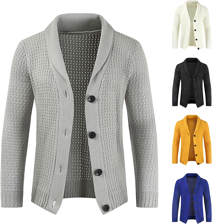 Mens Sweater Cardigan Solid Color Slim Button Casual Men's Jacket Coat