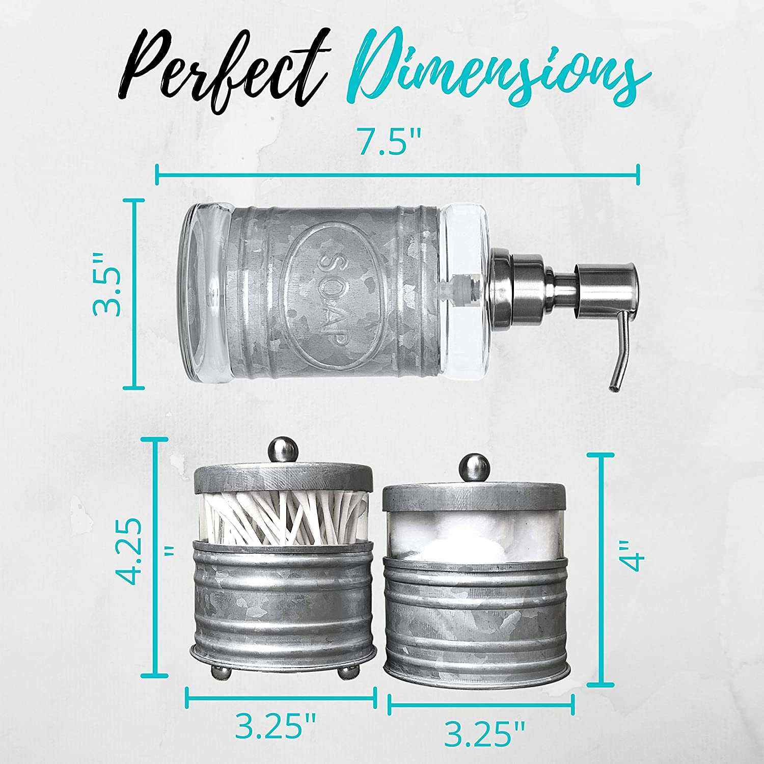 Buy Autumn Alley Adorable 3 Piece Farmhouse Bathroom Accessory Set For Sink Vanity With Galvanized Soap Dispenser Cotton Ball Container With Lid Qtip Organizer Galvanized Farmhouse Bathroom Decor Online In Greece B08lcpqmv3
