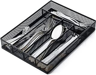 IRSHOME Solid Utensil Drawer Organizer, Cutlery Tray, Silverware/Flatware Storage Divider for Kitchen, Mesh Designing with Non-slip Foam Feet, 5 Component, Black- 1 Pack
