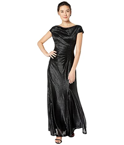 Tahari by ASL Petite Novelty Stretch Metallic Gown w/ Cap Sleeve and Side Shirring (Black) Women