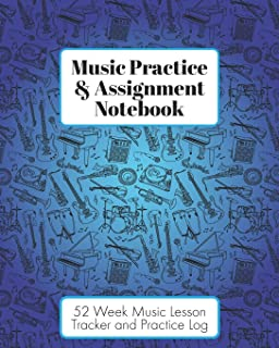 Music Practice & Assignment Notebook: 52 Weeks of Music Lesson Tracking Charts | Record Notes and Practice Log Book | Cool Blue Instruments for Boys and Girls