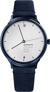Mondaine Helvetica Stainless Steel Swiss-Quartz Watch with Leather Strap, Blue, 18 (Model: MH1.L2210.LD)