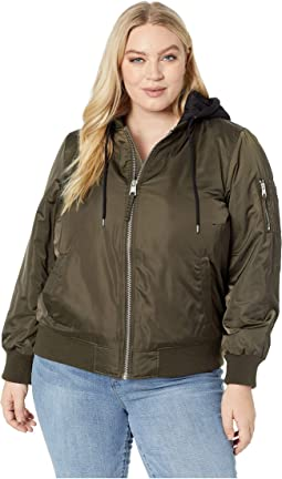Plus Size Poly Satin Bomber w/ Fleece Hood