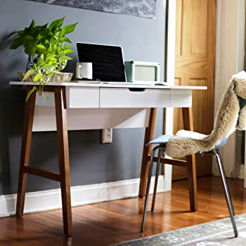 """Nathan James Telos Home Office Computer Desk with Drawer, 42"""" White/Brown"""