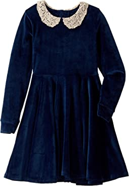 Lace Collar Velvet Long Sleeve Waisted Dress (Toddler/Little Kids/Big Kids)