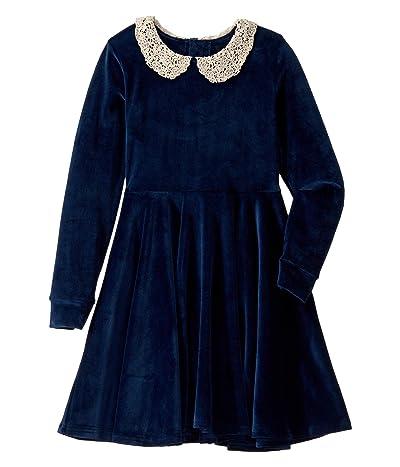 Rock Your Baby Lace Collar Velvet Long Sleeve Waisted Dress (Toddler/Little Kids/Big Kids) (Navy) Girl