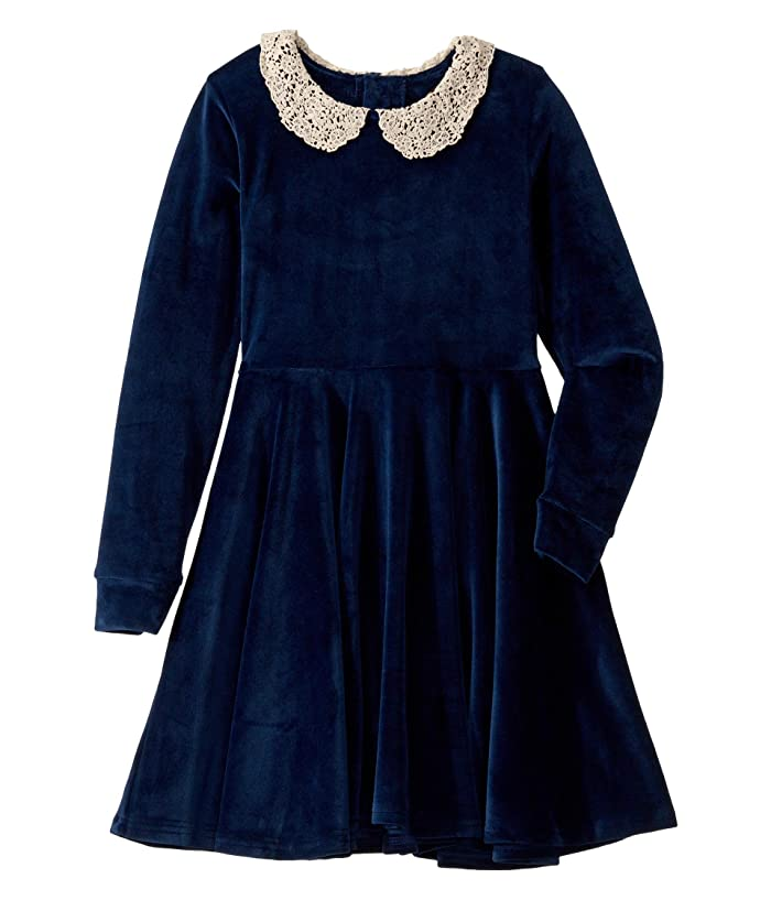 Kids 1950s Clothing & Costumes: Girls, Boys, Toddlers Rock Your Baby Lace Collar Velvet Long Sleeve Waisted Dress ToddlerLittle KidsBig Kids Navy Girls Dress $59.95 AT vintagedancer.com