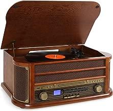auna Belle Epoque 1908 - estéreo , Toca Discos de Vinilo , accionamiento por Correa , Altavoces estéreo , Radio , Receptor FM/Am , Ranura USB , Reproductor de CD , pletina de Cassette , café