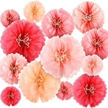 24 Pieces Paper Flowers Tissue Paper Flowers Chrysanth Flowers Paper Fans Garlands Decoration for Wedding Backdrop Nursery Wall Decoration