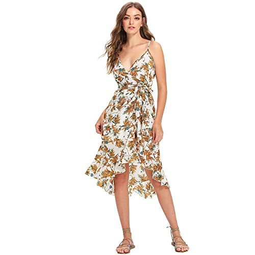 43d98b99238 Milumia Women s Floral Print V Neck Sleeveless Ruffle High Low Split Wrap Cami  Dress