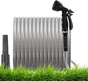 Garden Hose 50 Ft Metal Water Hose with 2 Free Nozzles- 16mm Stainless Steel Garden Hose, Durable Aluminum Interface Lightweight Flexible , Kink-Free,Easy to Use & Store