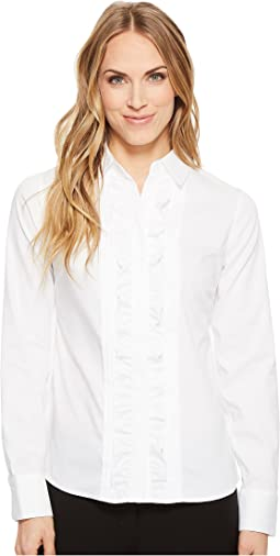 Long Sleeve Woven Button Down with Ruffle Front